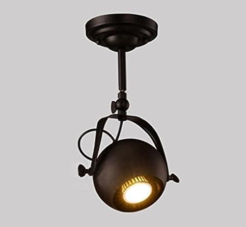 GFFORT projecteurs magasin de vêtements rétro vent industriel racks restaurant bar café, lampes de plafond en fer forgé, projecteurs à LED 220v ,