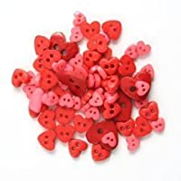 Trimits Mini Hearts Button Pack - Red, 4mm to 10mm by Trimits