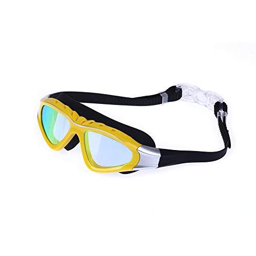 MHP Wasserdichte Männer und Frauen der Anti-Fog-Schutzbrille HD, die professionelle Flache große Kiste Schwimmen, gelb