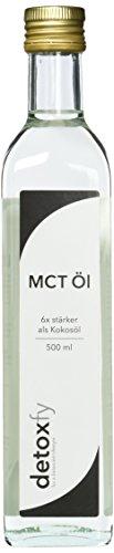 Detoxfy MCT Öl, Premium Qualität, (6x stärker als Kokosöl – Geschmacksneutral), 1er Pack (1 x 500 ml) in praktischer Glasflasche