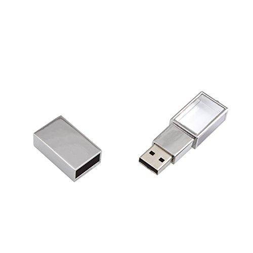 Uflatek USB Stick 16 GB USB 2.0 Kristall Flash-Laufwerk Silber Rahmen Speicherstick mit Schlüsselanhänger für Datenspeicher - Transparent