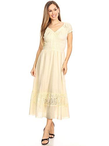 farbige Elastische Smock Taille Sommer Flügelärmeln Boho Gypsy lange Lace Spitze Oktoberfest Maxikleid Kleid ()