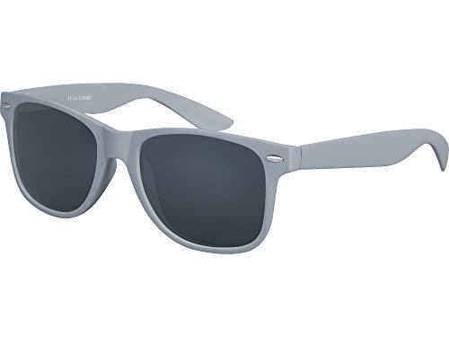 Balinco Hochwertige Nerd Sonnenbrille Rubber im Wayfarer Stil Retro Vintage Unisex Brille mit Federscharnier - 96 verschiedene Farben/Modelle wählbar (Grau - Smoke)