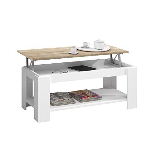 Habitdesign Mesa de Centro con revistero Incorporado, 102x50x43/54 cm (Blanco Artik - Roble Canadian)