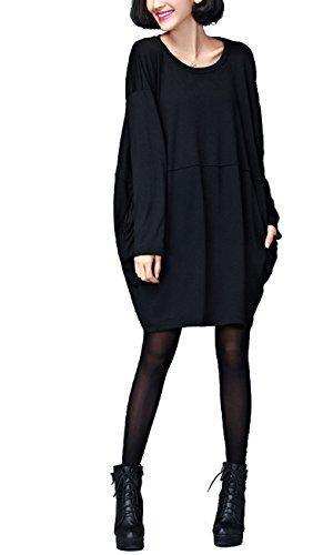 ELLAZHU Damen Basic Style Einfarbig Rundhals Taschen Locker Shirtkleid GA05 GA05 Schwarz