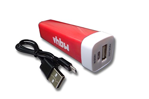 vhbw Powerbank mobiles Ladegerät Ladekabel Micro USB Akku 2200mAh rot für Switel Dragon S5000D, Wind S5510D, Sunny S52D, Armor S4000D, Meteor S4020D.