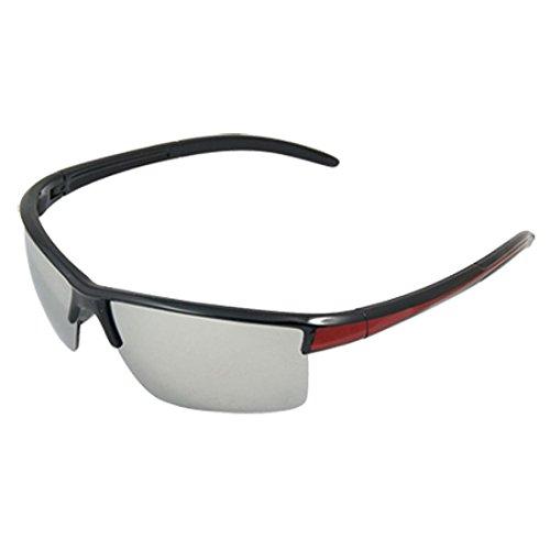 Unisex Rechteck-Spiegel-Objektiv purpurnen Schwarz Kunststoff Waffen Sonnenbrillen