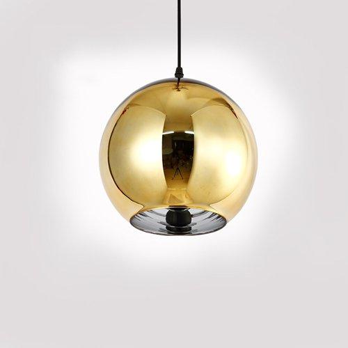 Modeen Kreative Beschichtung Transparent Reflektierende Einzigen Kopf Chrom Glas Spiegel Ball Pendelleuchte LED Globus Hängeleuchte Kronleuchter Stall Lager Küche Restaurant Esszimmer Deckenleuchte ( Color : Gold-Diameter 15cm )