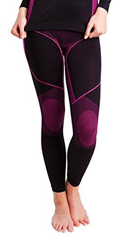 Nahtlose Damen Seamless Ski Funktionswäsche, Outdoor Unterwäsche, aus geschmeidigem Microfaser Material wählbar als Hose, Hemd 1/2 arm oder Hemd langarm (S/M, Hose pink/schwarz)(13894) (Arm Seamless Warmers)