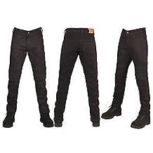 Pantalones vaqueros para hombre, corte ajustado, ideal para motocicleta, con protecciones y forro, color negro