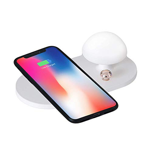 OWEM Kabelloses Schnellladegerät mit Nachtlicht, Ladestation, Qi-Zertifiziert, Kompatibel mit iPhone, Samsung Galaxy und Mehr,Pink