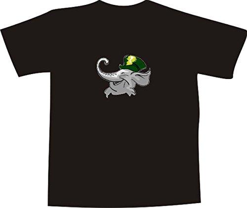 T-Shirt E746 Schönes T-Shirt mit farbigem Brustaufdruck - Logo / Grafik - Comic Design - lustiges Elefantenbaby mit Hut Schwarz