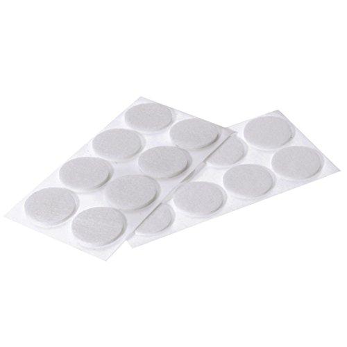 Westmark 18 Filz-/Bodenschutz-/Möbelgleiter, Selbstklebend, Rund, Ø 2,5 cm, Stärke: 2 mm, Filz-Stoff, Weiß, 52042280 (Bm-stuhl)