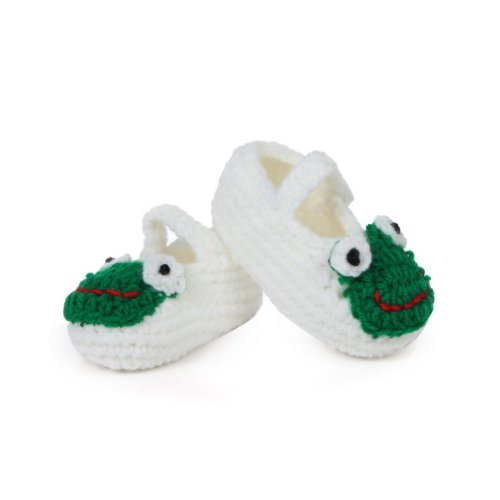Bigood 0-6 Baby Krabbelschuhe Gestrickte Schuhe flauschige Baby-Unisex Länge 11 cm Panda Blau Frosch Weiss A