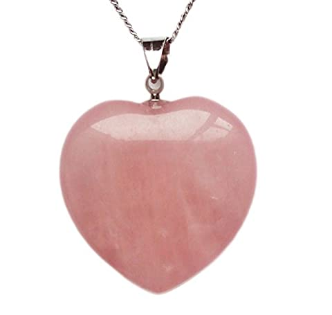 Rose Quartz Crystal Pendant Necklace, Puffy Heart Shape, with 18