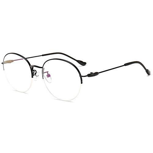 CHKE Anti-Fatigue-Brille, Fashion Metal Brillengestell Retro Half Frame Round Frame Brillengestell Unisex Anti-Blue Transparent Lens Game Brillen