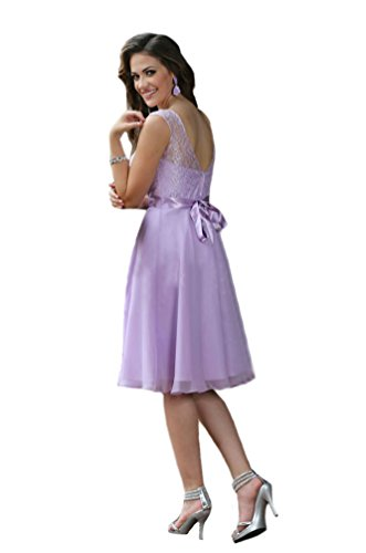 Engerla Women's Sheer Scoop Neckline Embroidery Lace Chiffon Knee Length Bridesmaid Dress Lilac UK18