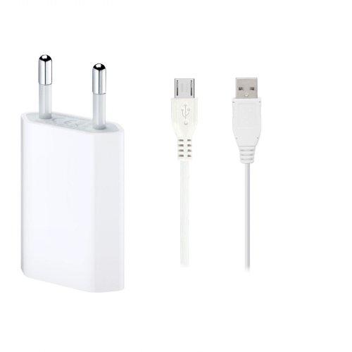 GiXa Technology V8 Weiß 3in1 SPAR SET Ladegerät Ladekabel Universal USB Netzteil + USB Micro Datenkabel Passend für Samsung, Nokia, LG, HTC, Motorola, Huawei, Sony