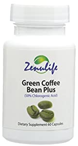 Zenulife Pure Green Coffee Bean Extract Plus Chlorogenic Acid Supplements Capsules - Pack of 60 Capsules by Secure Global