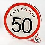 Geschenktragetasche zum 50. Geburtstag - Pappetasche mit Satinband ca. 30x30cm - Aufdruck Happy Birthday 50