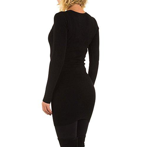 Geripptes Strass Kleid Für Damen bei Ital-Design Schwarz