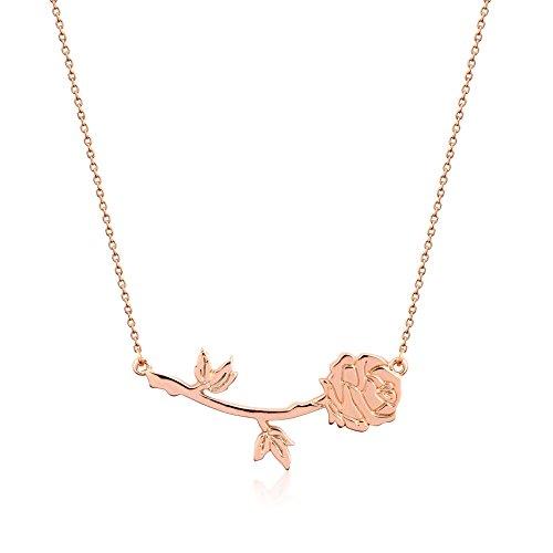 Halskette mit Rosen-Anhänger von Disney Couture, Die Schöne und das Biest, mit Rotgold vergoldet, Rose von Belle