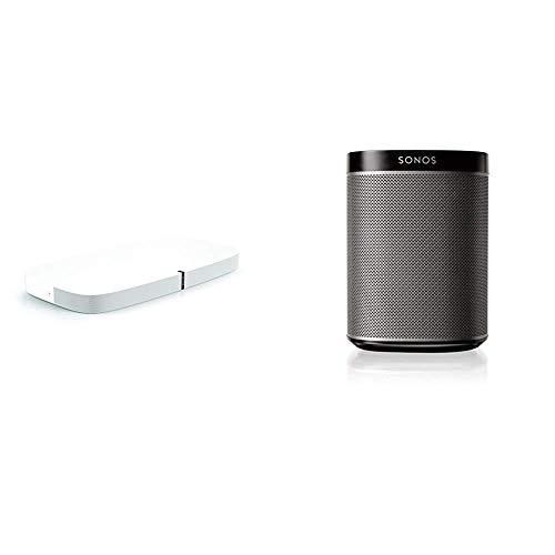 Sonos playbase soundbase wireless per l'home theater e lo streaming musicale, bianco + sonos play:1 lettore all-in-one, wireless, controllabile da smartphone, tablet e pc, nero
