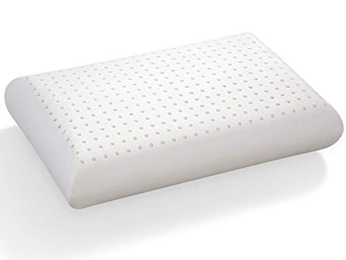 Pure Latex Wave Almohada de 40 x 60 cm, 100% látex, Forma clásica, Perforada