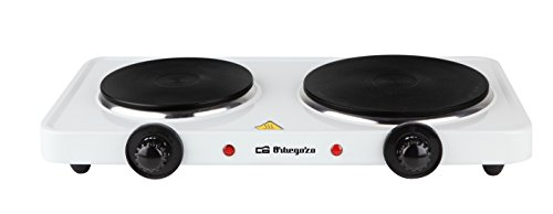 Orbegozo PE 2810 - Placa eléctrica de cocina portatil, dos quemadores (15,5 cm y 18,5 cm), 5500 W y termostato de intensidad regulable