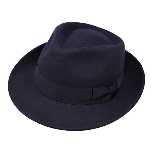 B&S Premium Doyle- Cappello a Goccia Fedora-100% Feltro di Lana- Ripiegabile in Viaggio- Impermeabile- Blu scuro 58cm