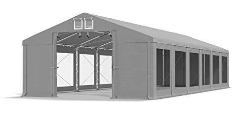 Das Company Transparente Fenster Partyzelt mit 6x12m wasserdicht grau Zelt 580g/m² PVC Plane Ganzjährig Stabil Gartenzelt Winter Plus SD
