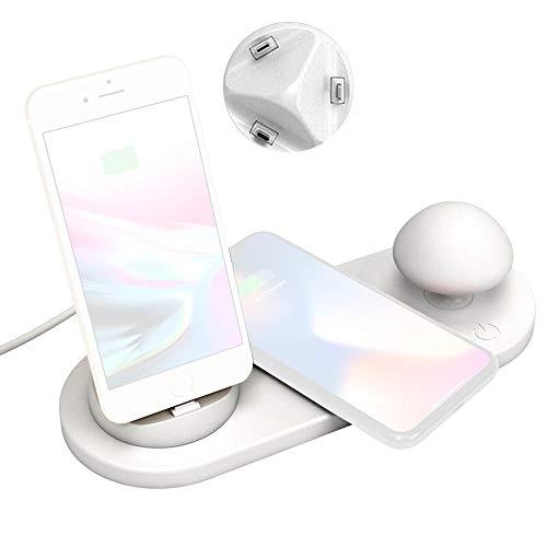 SHENGY Neues 5in1 10W-Ladestation, Multi-USB-QI-Wireless-Ladegerät mit Pilz-Licht für ios/Micro/Type-C und alle QI-fähigen Telefone -