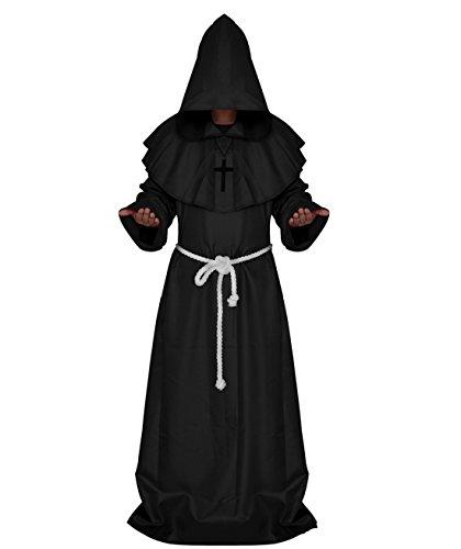 FuliMall Priester Robe Mönch Mittelalterliche Kapuze Kapuzenmönch Renaissance Robe Kostüm
