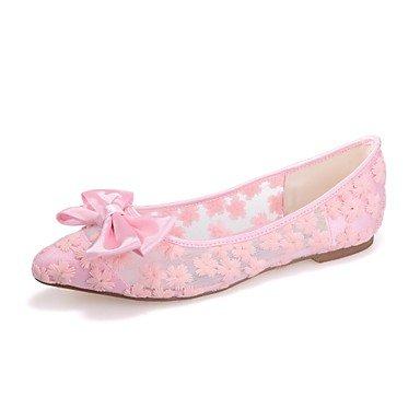 Wuyulunbi@ Scarpe donna Tulle Primavera Estate Ballerina Flats tacco piatto Punta Bowknot per vestire Party & Sera Bianco Nero Rosa Blu Noi6.5-7 / EU37 / UK4,5-5 / CN37