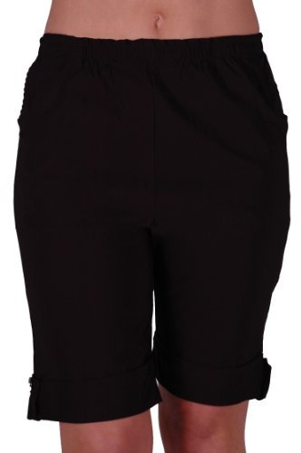 EyeCatch - Eta Womens Elasticized Flexi Stretch Ladies Shorts Plus Sizes Black Size 20 (Shorts Plus Womens Workout)