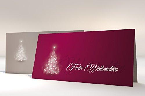 """Weihnachtskarten mit Umschlag, 50er Set Motiv """"Verträumter Lichterbaum ROT"""", Klappkarten selbst bedruckbar"""