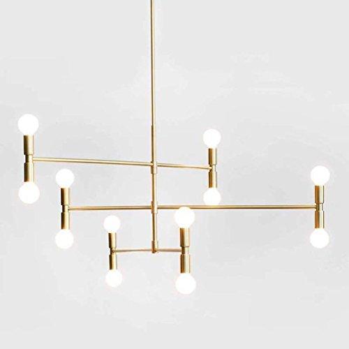 Modern Deckenlampe Kronleuchter Moderne Pendelleuchte Decke Kronleuchter Hängelampe mit 12 Leuchten Leuchte Unterputz, Gold mit schwarzem Finish Balkon Schlafzimmer ( Farbe : Gold ) - Leuchten-gold-finish