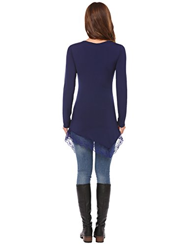 HOTOUCH Damen Pullover V-Ausschnitt Pulli Tunika Langarm Bluse Basics T-Shirt Shirt Typ2-Marineblau