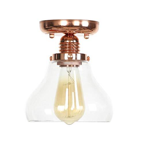 Moderne Cone Retro Roségold Metallic Transparent Glas Decke Lampenschirm Dachgeschoss Cafe Küche Deckenleuchte (Keine Glühbirne) -