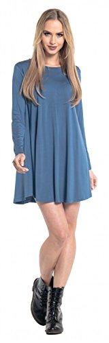 Glamour Empire. Femme Mini Robe Évasée Elastique Ras du Cou Manches Longues. 603 Bleu Jeans