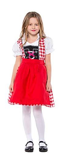 MOMBEBE COSLAND Mädchen Trachtenkleid Oktoberfest Kostüm Dirndl (Rot, ()