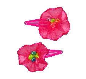 2 pince à cheveux fluo avec fleur