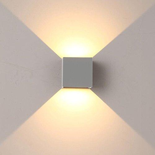 K-Bright 12W Wandleuchte IP65 Wandlampe,3.9X3.9X3.9 Zoll,Wandbeleuchtung aus Aluminium,grau,3000K Warmweiß