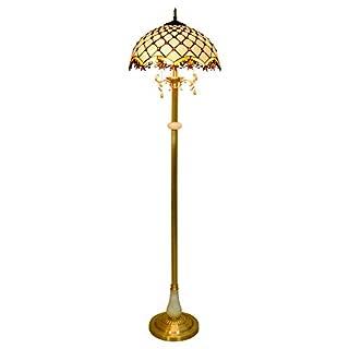 LHFJ Tiffany-Art-Buntglas Steht Stehlampe Mittelmeer Kristall-Korn-weiße Farbton Leselampe Jade Dekoration Kupfer Stehlampe für Schlafzimmer Wohnzimmer, Sofa