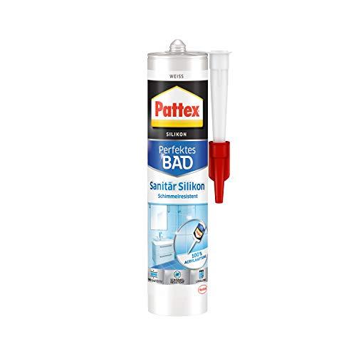 Pattex Perfektes Bad Sanitär Silikon, wasserfestes und schimmelresistentes Silikon für Bad und Küche, langlebige Dichtmasse für Fugen und Übergänge, weiß, 1 x 300 ml Kartusche