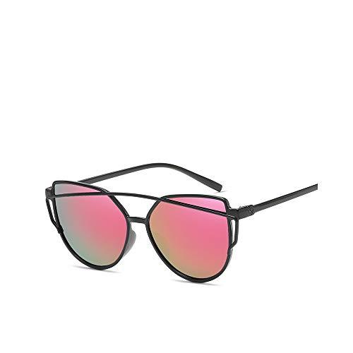 WJFDSGYG Mode Cat Eye Sonnenbrille Frauen Twin-Beams Sonnenbrille Weibliche Beschichtung Spiegel Gläser Flachbildschirm Objektiv