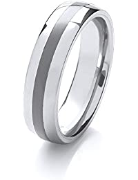 Theia Nickel Free Tungsten and Ceramic Highly Polished Single Striped 6 mm Wedding Ring for Ladies or Gents