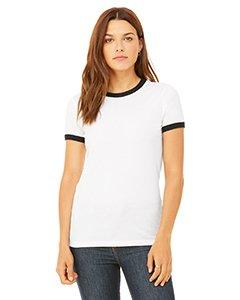Ladies' Jersey Short-Sleeve Ringer T-Shirt WHITE/ BLACK XL