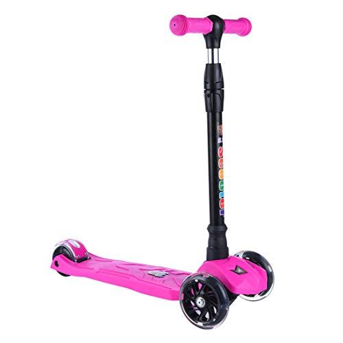 GRXXX Dreirädriges Roller-PU-Blitz-Rad der Kinder kann durch das Auto-Falten im Freien angehoben Werden und getrieben Werden,Purple-OneSize