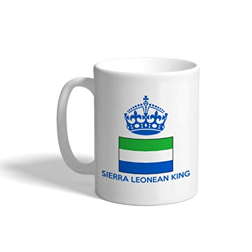 POBOC Custom Funny Coffee Mug Coffee Cup Sierra Leonean King Crown White Ceramic Tea Cup 11 OZ Design Only -